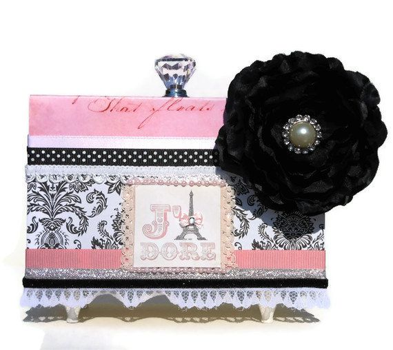 Eiffel Tower Jewelry Box Black Rhinestone Flower by BlissfulBoxes