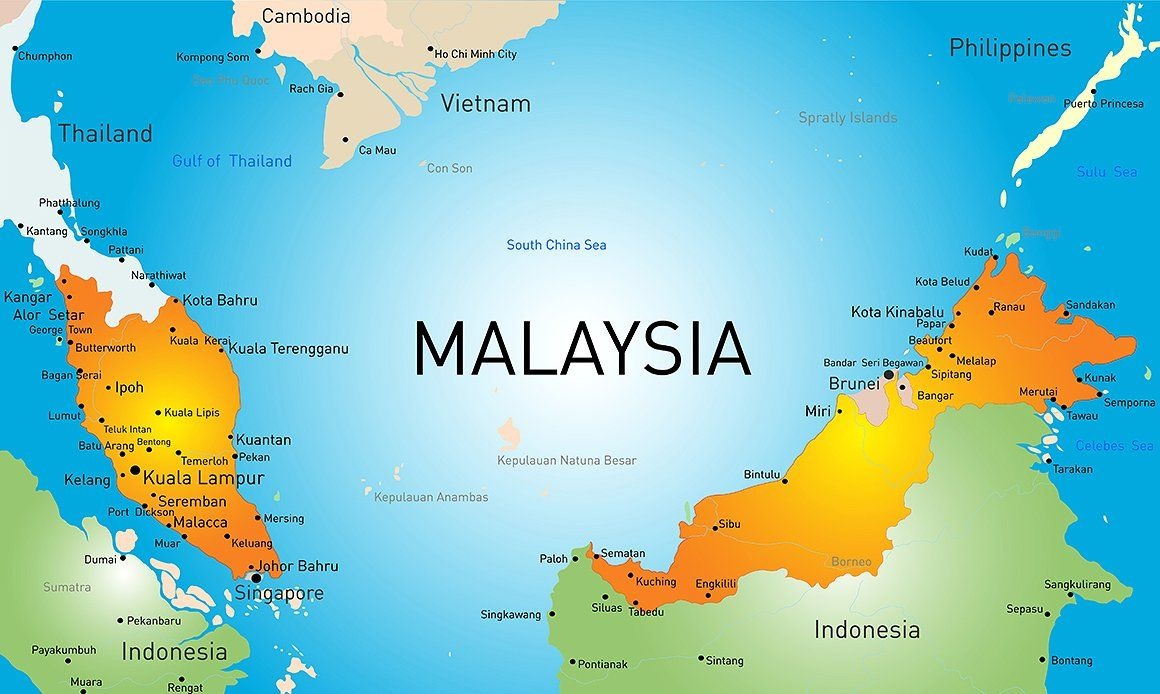 Vector Map Of Malaysia Country Map Vector Map Malaysia