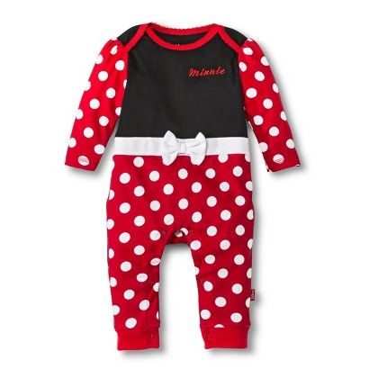 Minnie Mouse Newborn Girls' Coverall - Black/Red