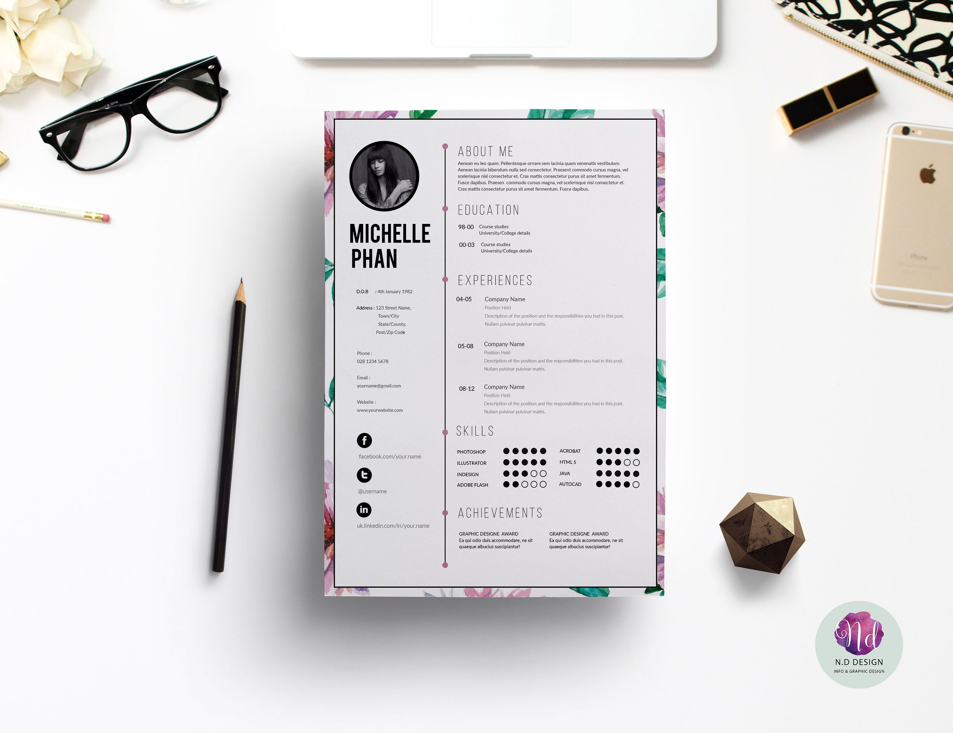 Floral Cv Template   Graphic     Cv Template