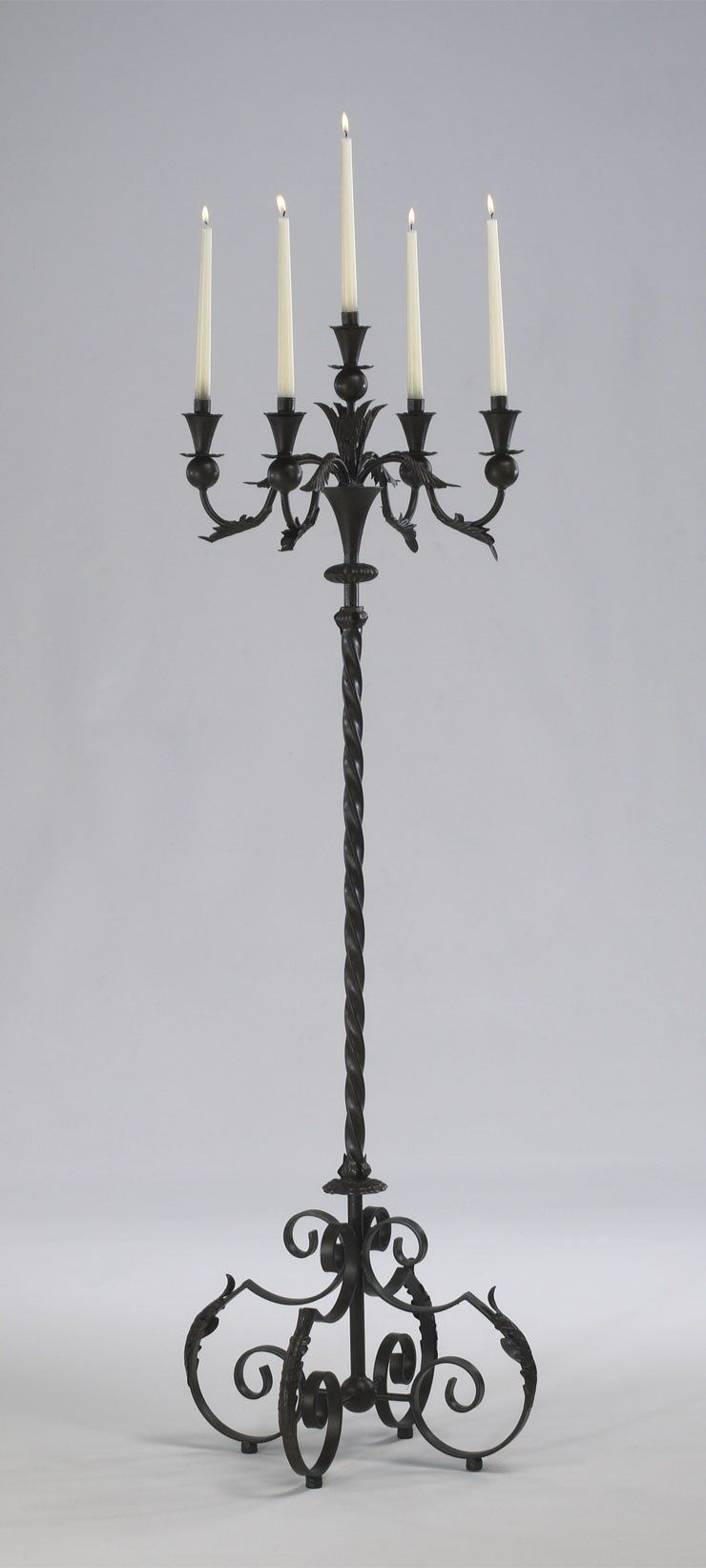 Large Acanthus Multi 5 Taper Wrought Iron Floor Candelabra Tuscan French Gothic Candle Holder Stand Rustic 60 Tall