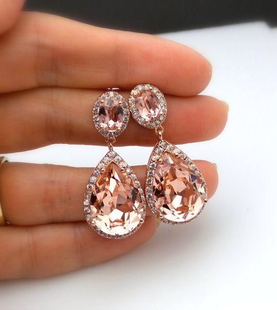 wedding jewelry bridal earrings bridesmaid gift teardrop swarovski vintage rose blush pink crystal rhinestone oval cz post rose gold frame