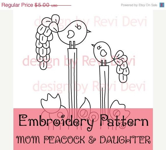 On Sale Mom Peacock And Daughter 15054 Cute Embroidery Pattern