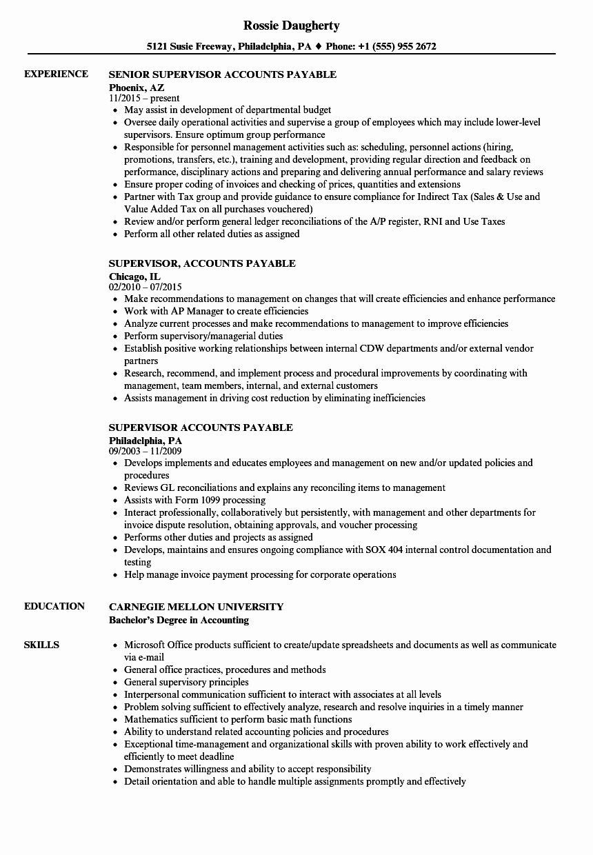 Accounts Payable Resume Example Luxury Supervisor Accounts