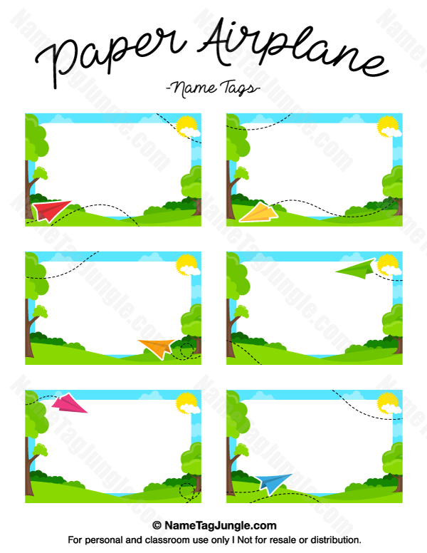 free printable paper airplane name tags the template can also be used for creating items