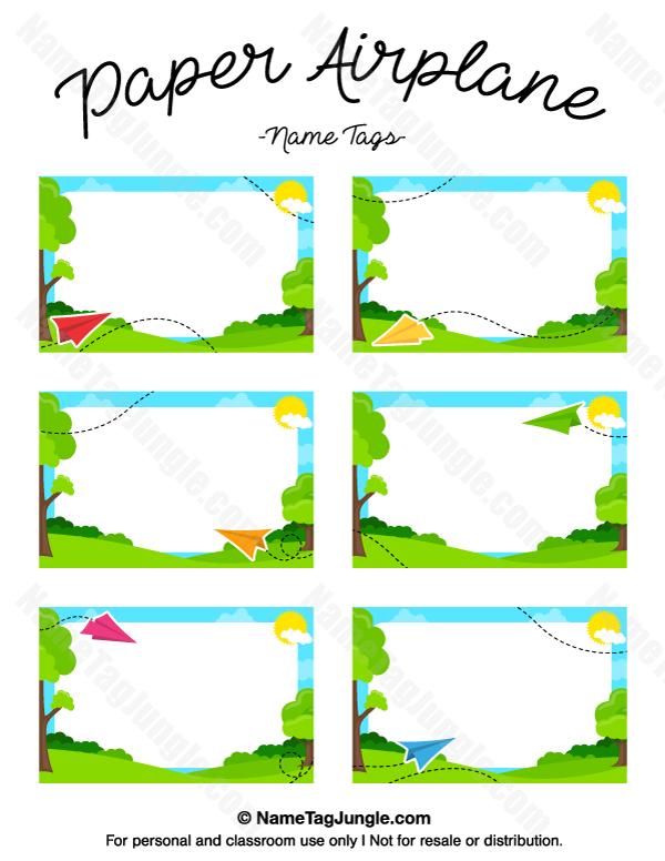 Free Printable Paper Airplane Name Tags The Template Can Also Be - Free printable name tags template