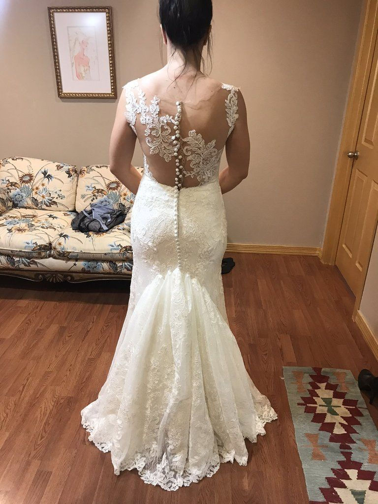 Martina Liana 832 Size 8 Used Wedding Dress Back View On Bride