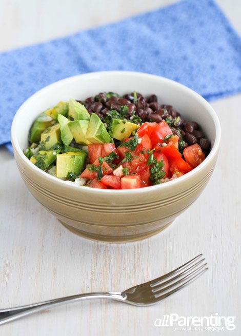 Rice Bowl With Black Beans Avocado Cilantro Dressing
