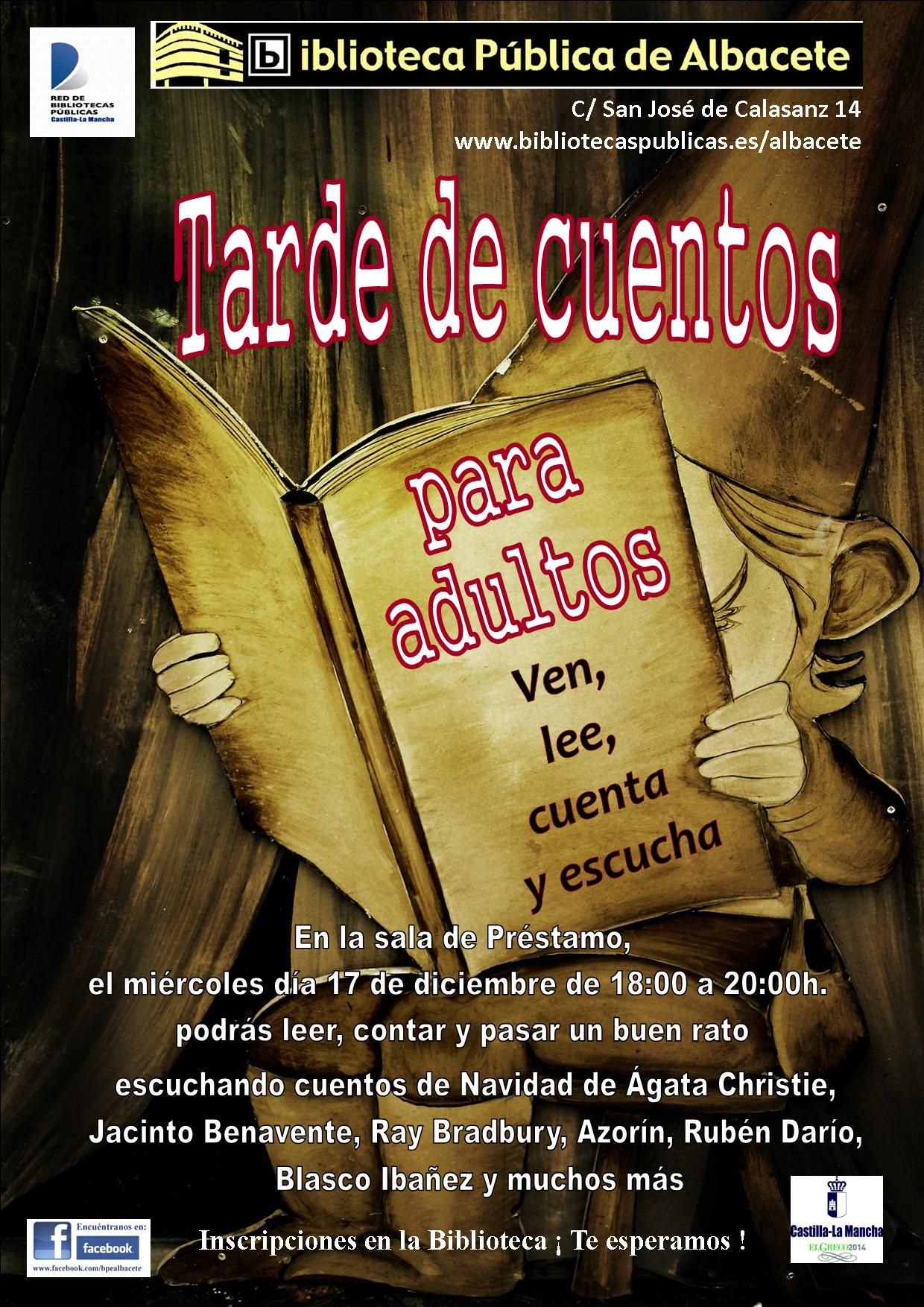 #actividadesbiblioteca Tarde de cuentos para adultos. Puedes disfrutar de esta actividad como lector o como oyente.