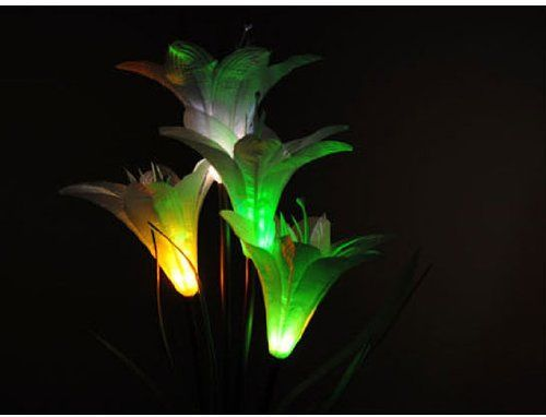 Led Solar Lily Flower Garden Yard Lamp Decor Stake Multi Color Changing Light Outdoor Figurine Lights Patio Lawn Gar
