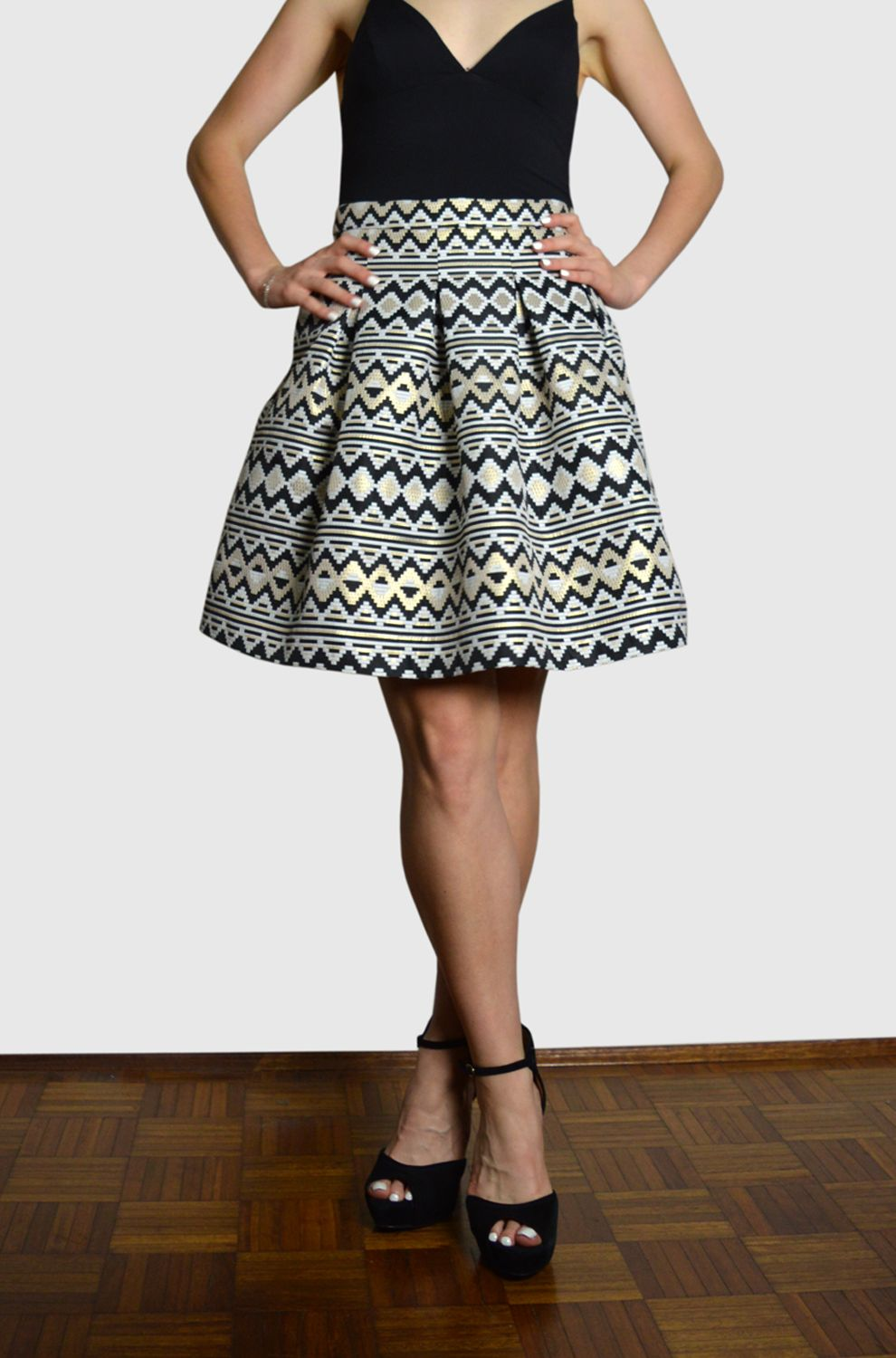 Hettie skirt in deco black white gold silk top and full skirts