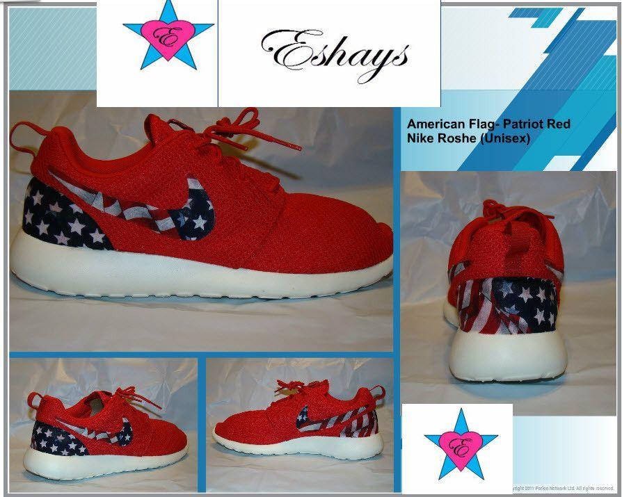 Custom Nike Roshe Run- Red Nike Roshe Runs - American Flag Print - Women/ Men/ Kids