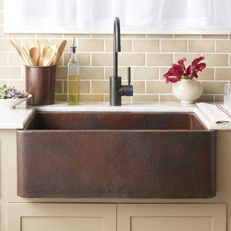 cocina moderna con fregadero de cobre | ideas cocina | Pinterest