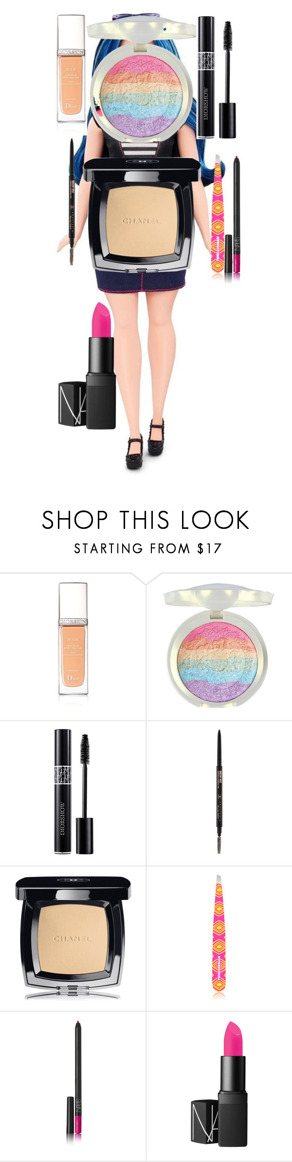 BARBIE DOLL MAKEUP TUTORIAL by oroartye-1 on Polyvore featuring beauty, Chanel, Christian Dior, NARS Cosmetics and Tweezerman