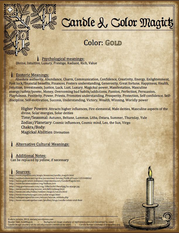 Gold candle color magic correspondences for spells and rituals. #candlecolormeanings