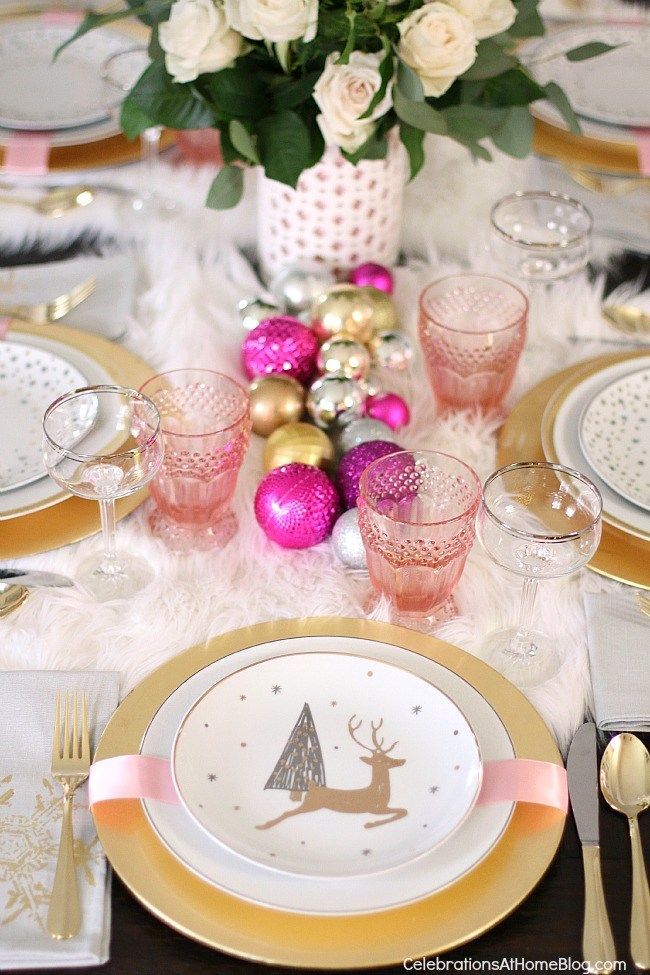 This white \u0026 pink Christmas table setting is perfect for celebrating the season with a girls night dinner party. Don\u0027t miss this lovely color palette. & White \u0026 Pink Christmas Table Setting | Pink christmas Christmas ...