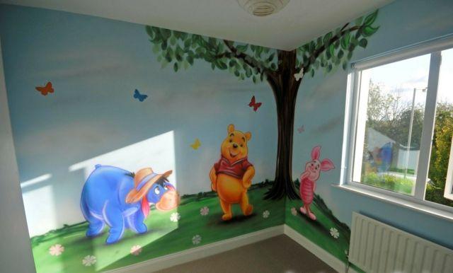 Ideen Wandgestaltung Mit Farbe  Handgemalte Motive Im Kinderzimmer |  Kinderzimmer Winnie Pooh | Pinterest | Babies