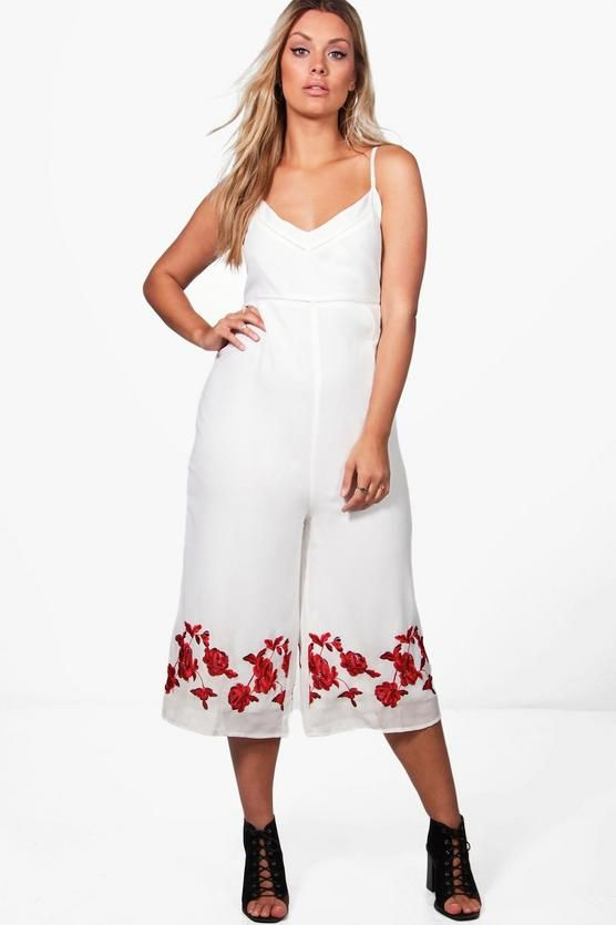 eaf115146 Plus Kelly Embroidered Culotte Jumpsuit | how pretty | Jumpsuit ...