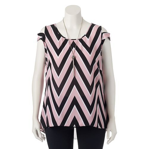 Juniors' Plus Size HeartSoul Chevron High-Low Top