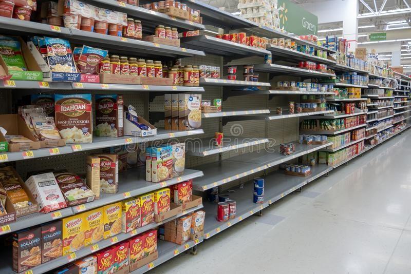 Empty Shelves In Local Store Walmart For Hurricane Dorian