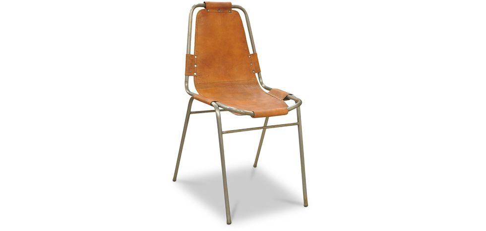 Chaise vintage design industriel Acier et Cuir Premium