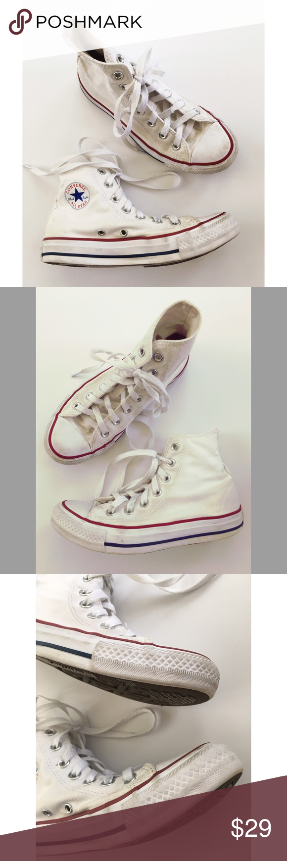 8355e5d8e232 White converse size 6 high tops sneakers men s 4 There are some scuffs and dirty  spots