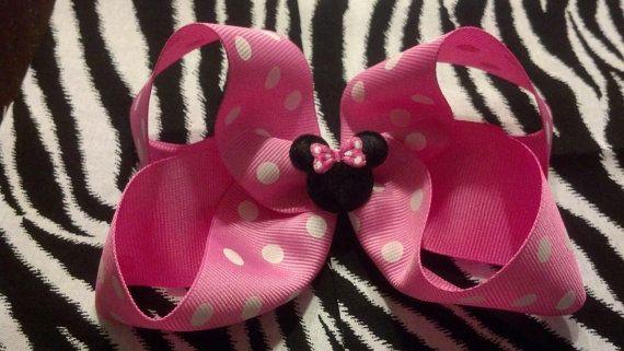 Polka dot Minnie Mouse Hair bowHair bow Clip by Prettyinpinkbiz, $6.50