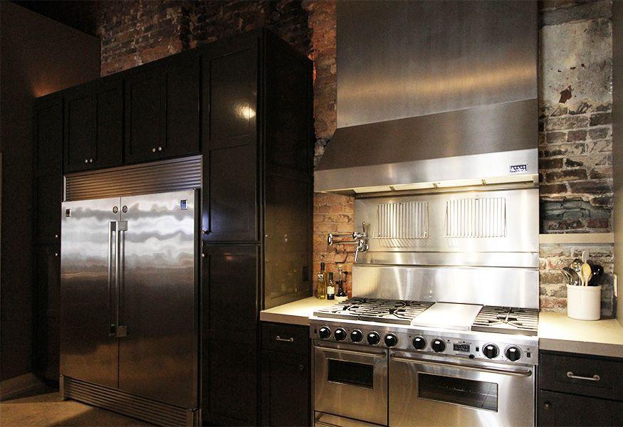 Kitchen Range with original brick wall l Appleseed Workshop