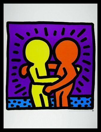 keith haring two men poster kunstdruck bild mit alu rahmen in schwarz kostenloser. Black Bedroom Furniture Sets. Home Design Ideas