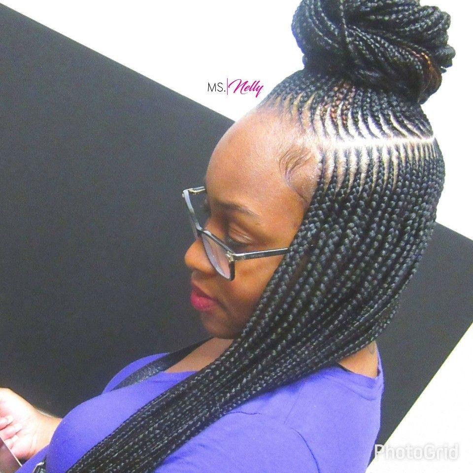 Protective styles small feeder braids top knot bun feedin braids