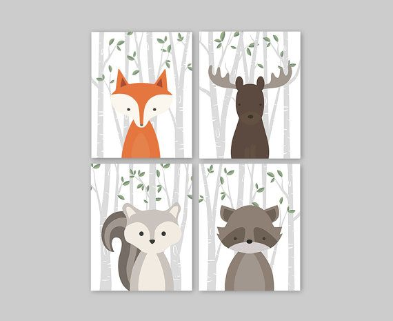 Baby Animal Wall Art Print Forest Animals Fox Wall Art Baby Shower