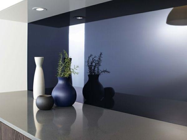 Küchenrückwand Spritzschutz lila Farbe Design Ideen | Traumhaus ...