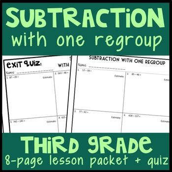 Subtraction with One Regroup 8-Page Lesson Packet  Quiz, 3NBT2 - resume quiz