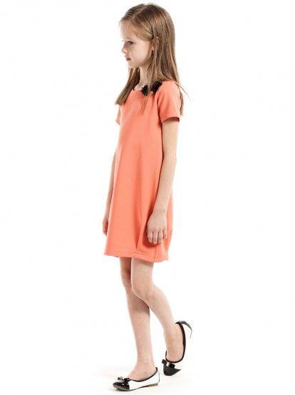 2682339c0ffa Dječja haljina kratkih rukava KIDIN - koraljna