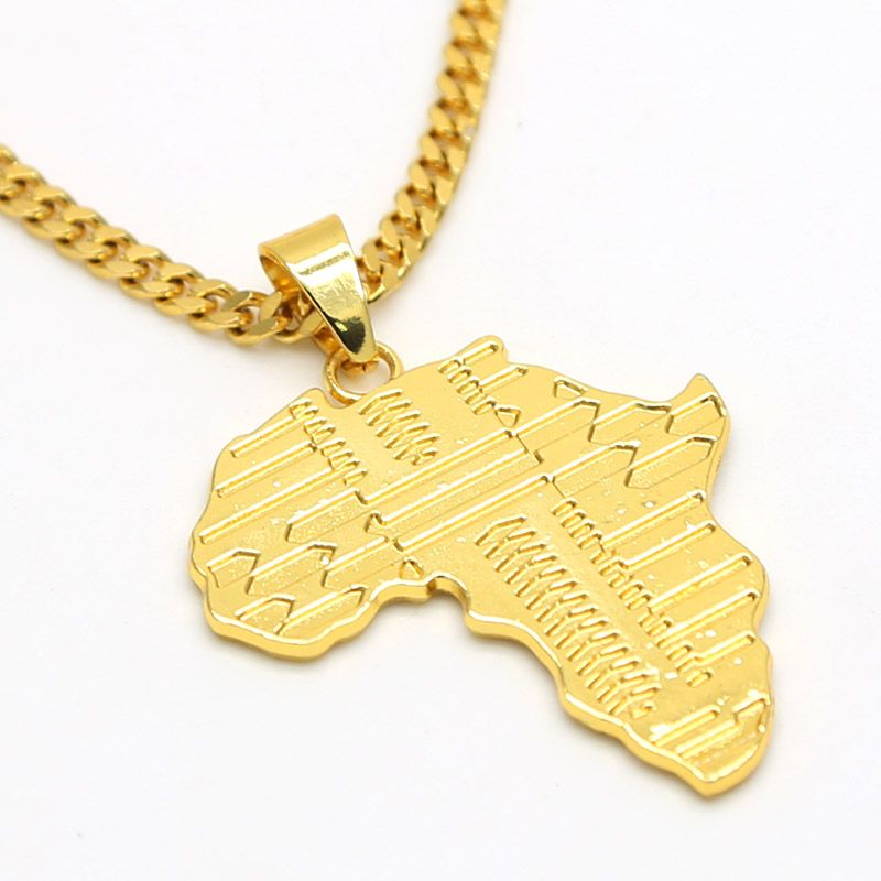 Africa map pendant necklace yellow gold filled cuban curb chain