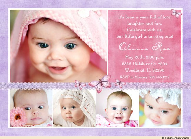 Purple Butterfly 1st Birthday Collage Invitation Photo Little