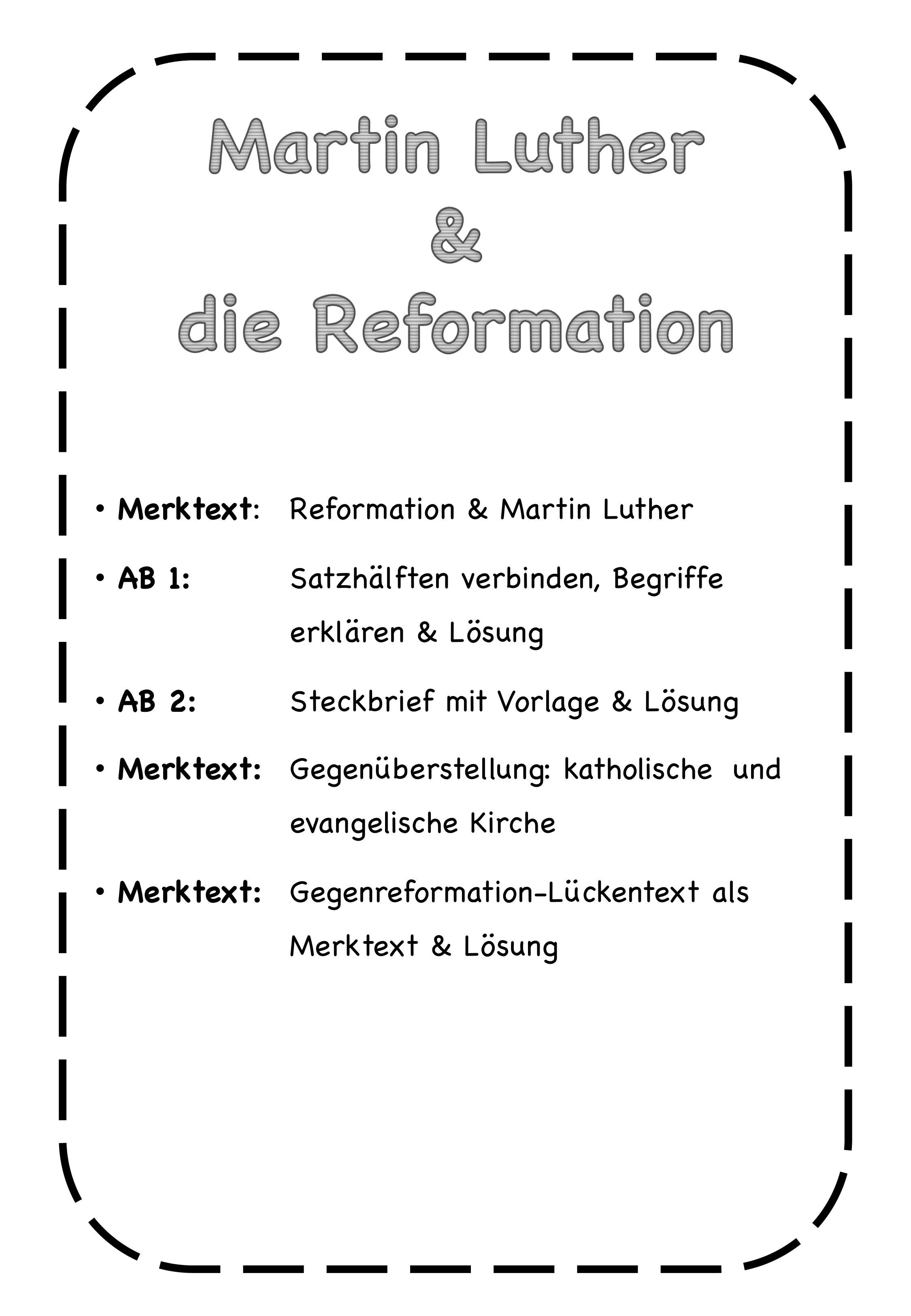 Martin Luther Reformation Gegenreformation Unterrichtsmaterial Im Fach Geschichte Martin Luther Luther Martin Luther Steckbrief
