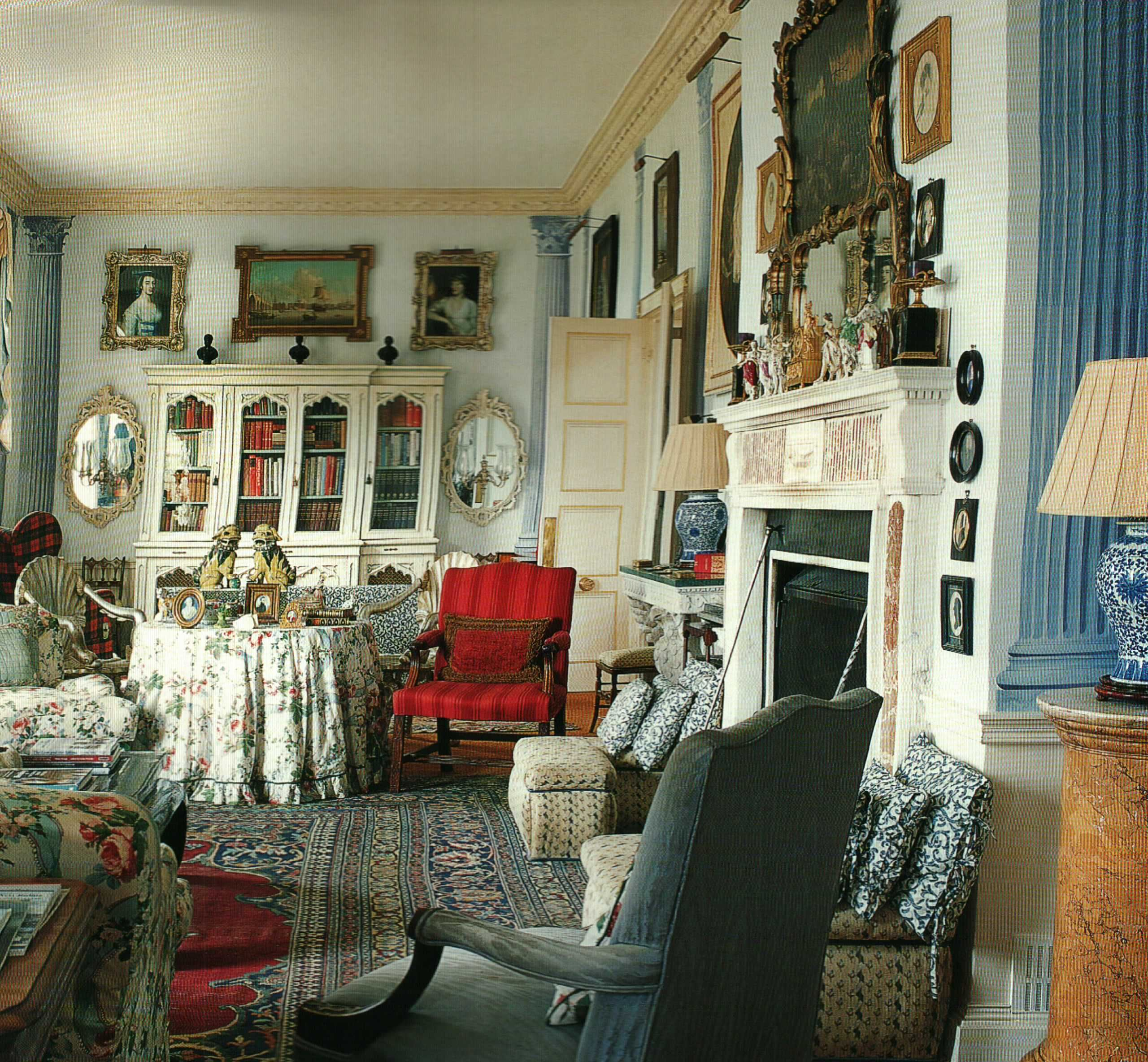Chintz Filled Library In English Country Home