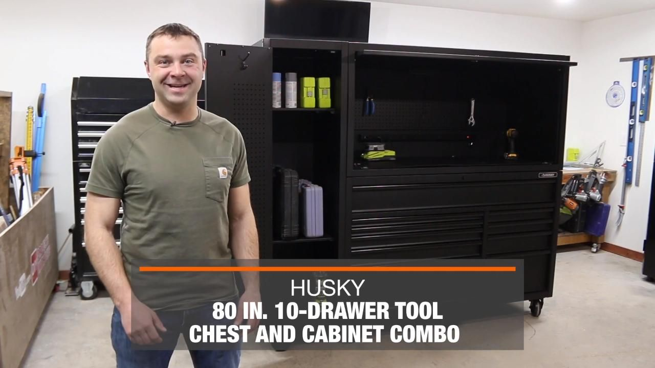 Husky 80 In 10 Drawer Tool Chest And Cabinet Combo Matte Black 3 Piece Hotc8010bb1s The Home Depot Tool Chest Garage Storage Units Drawers