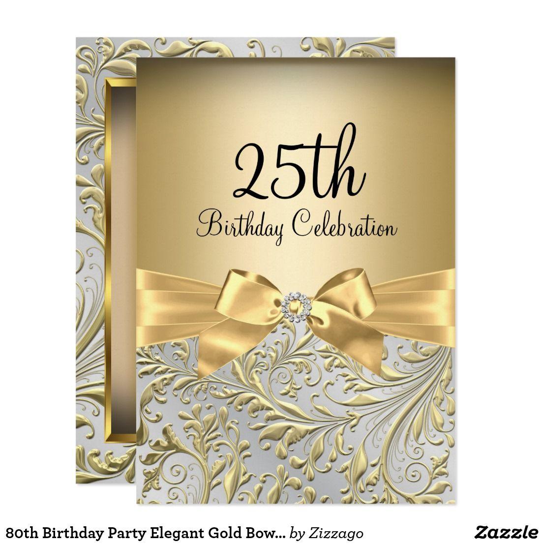 80th Birthday Party Elegant Gold Bow Floral Swirl