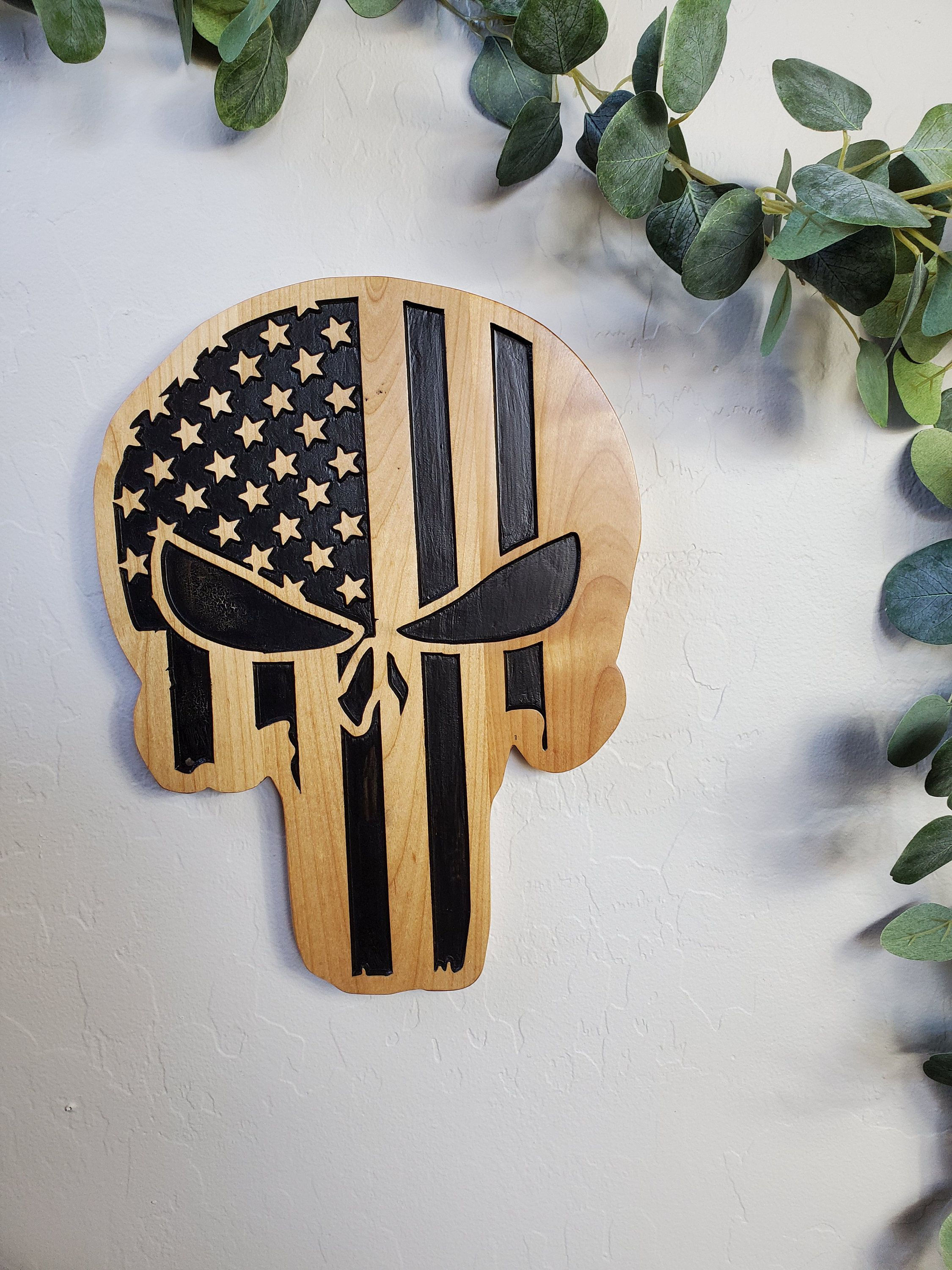 The Punisher Flag Wood Carving Wood Carved Wall Art Etsy In 2021 Carved Wood Signs Carved Wall Art Carved Signs