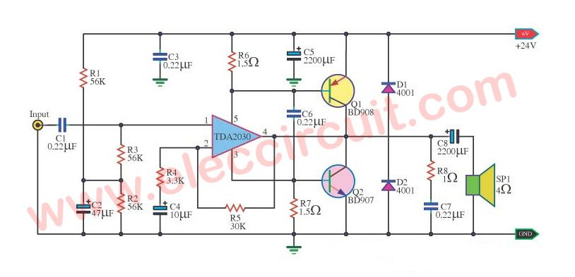Tip41 Tip42 Amplifier Circuit Diagram