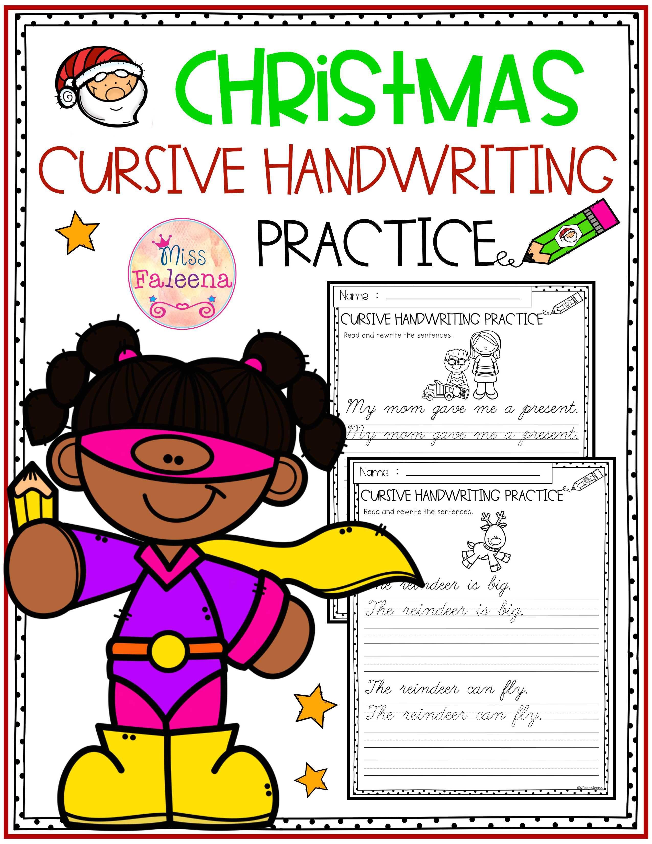 Christmas Cursive Handwriting Practice