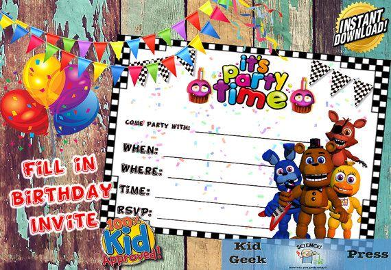 Five Nights At Freddys FNAF Birthday Invitation 5
