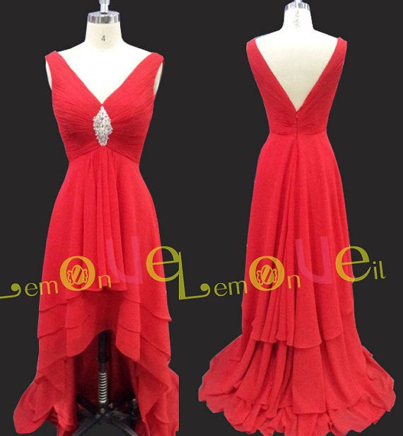 deep v high-low red prom dressesbackless long prom by LemonVeil
