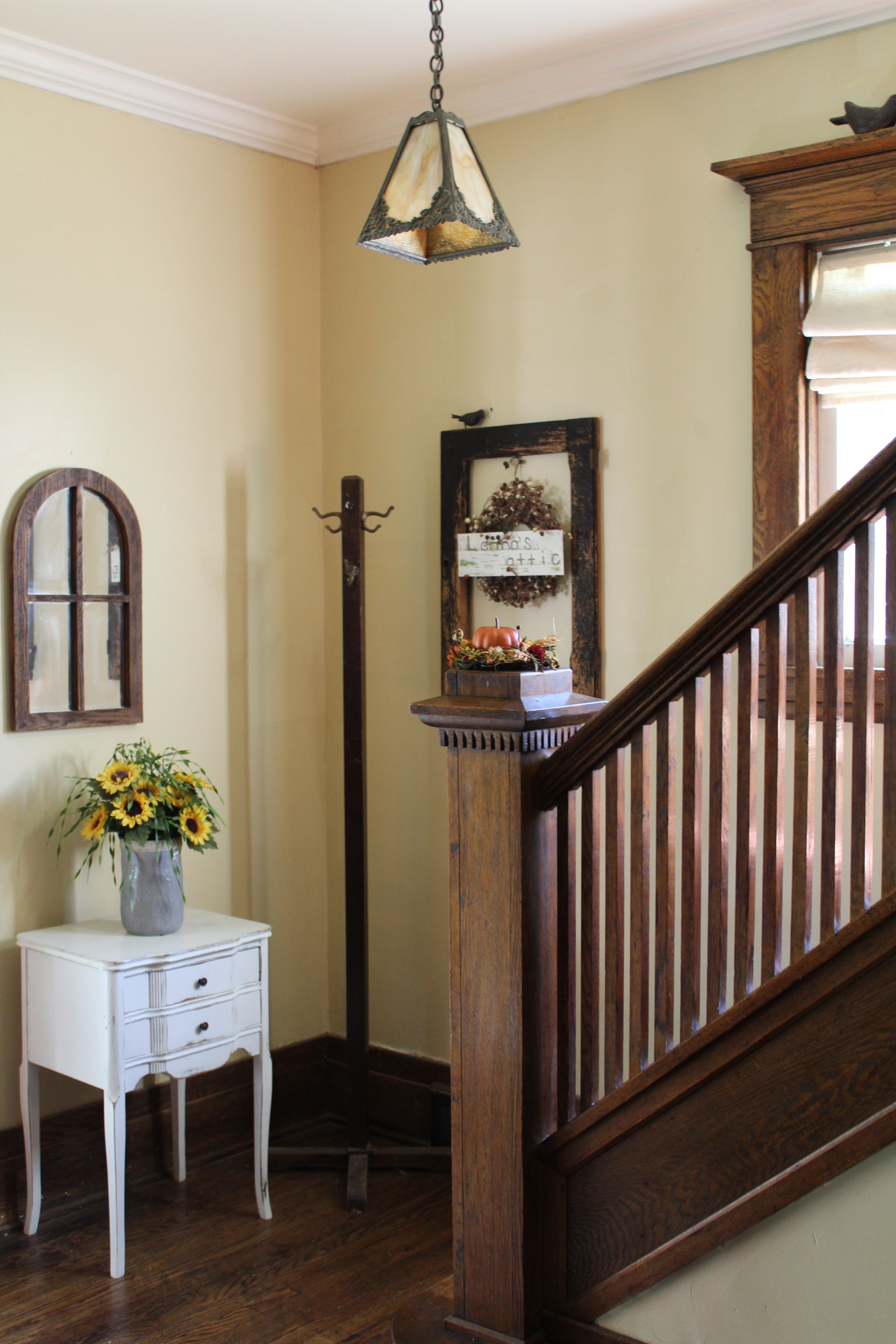 Craftsman bungalow foyer painted dunmore cream by - Benjamin moore paint for living room ...