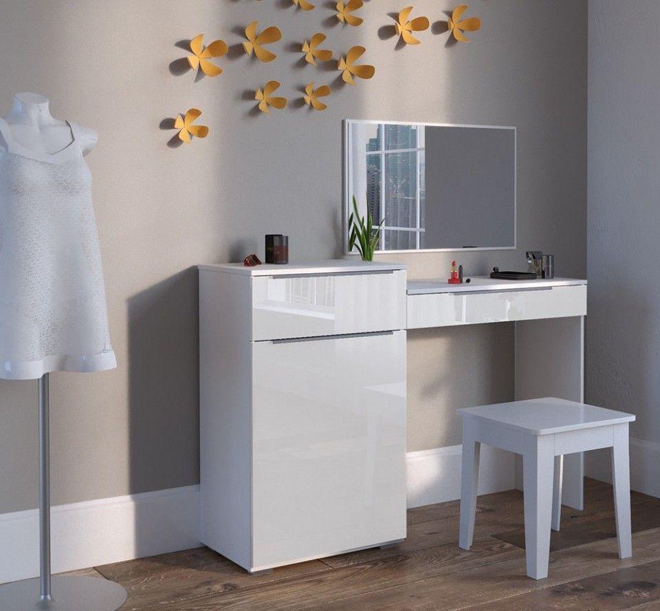 SEA337 Masă de toaletă - cosmetică - machiaj - cu 2 sertare si dulăpior - http://www.emobili.ro/cumpara/sea337-set-masa-alba-toaleta-moderna-cosmetica-machiaj-oglinda-masuta-800 #eMobili