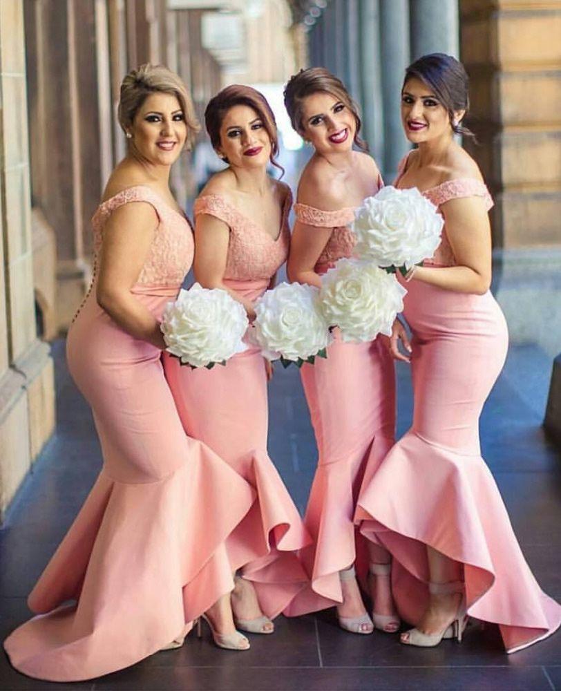 High quality mermaid bridesmaid dress pink off shoulder hilow