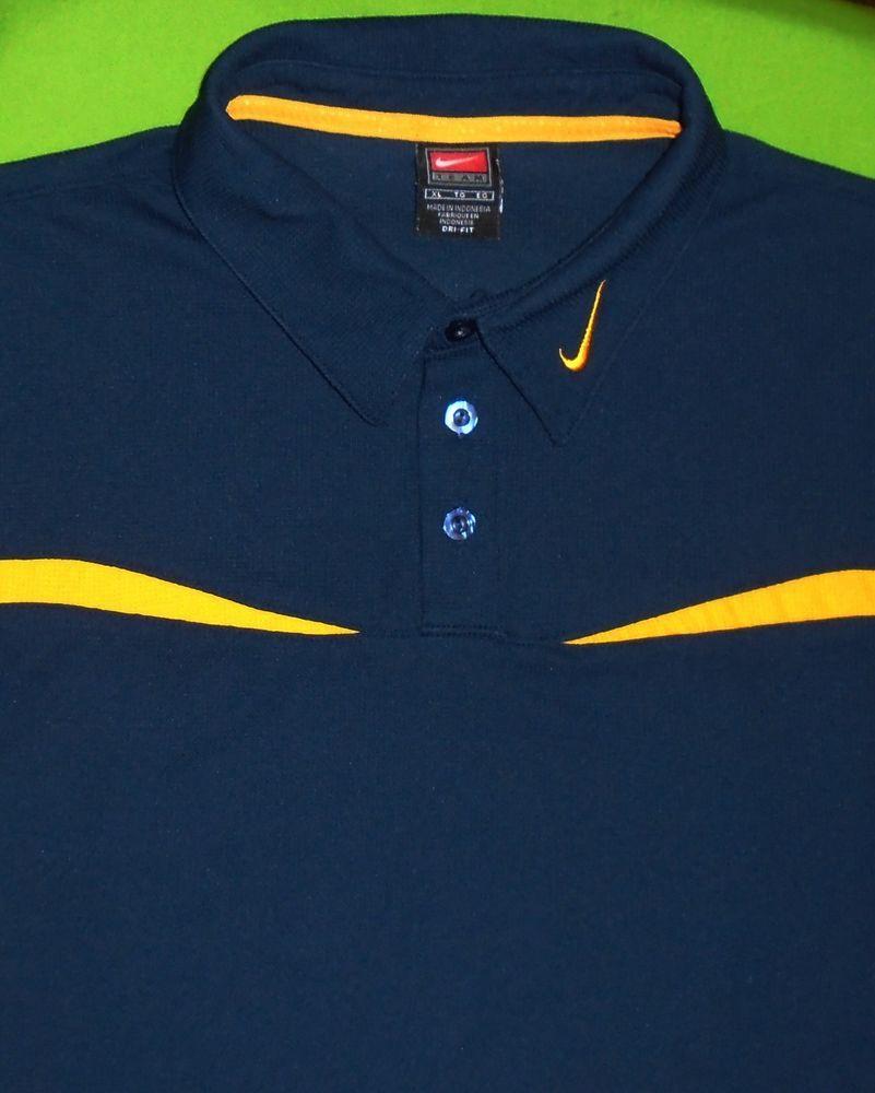 f4699b49 Nike Golf Dri-Fit Wicking Fabric Polo Shirt Navy w/Yellow Trim S/S ...