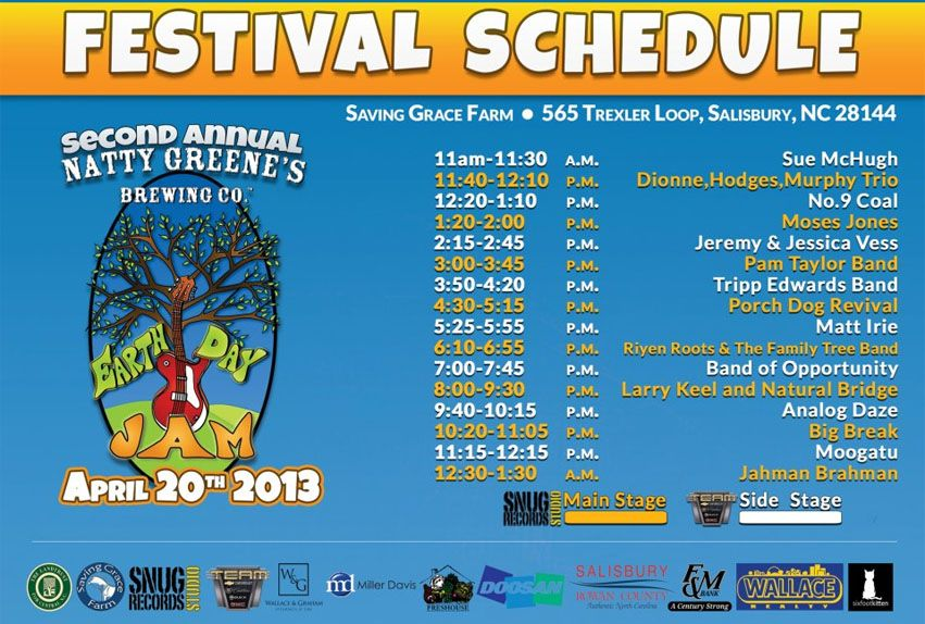 THE OFFICIAL Natty Greene's Brewing Co.'s Earth Day Jam SCHEDULE!!! Sat. 4-20